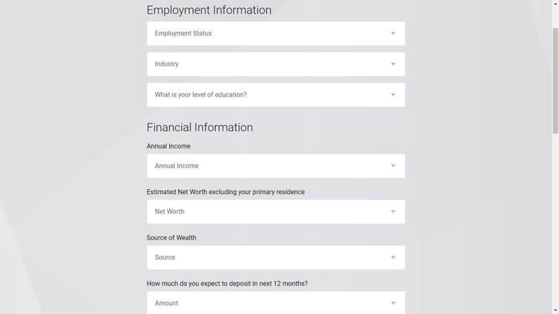 FxPro registration financial information