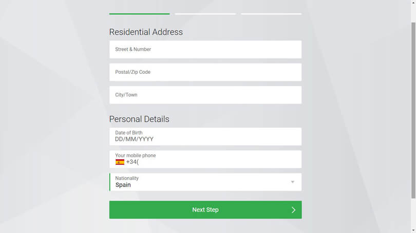 FxPro registration personal information