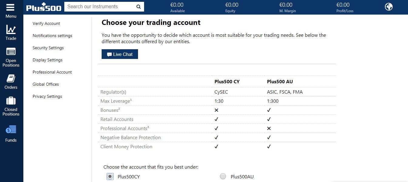 Plus500 choose live account