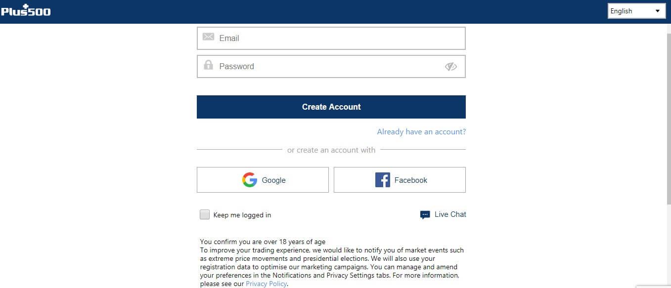 Plus500 live account registration