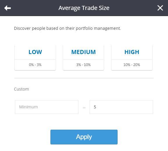 etoro average trade size filter