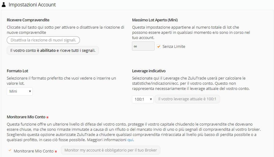 settings zulutrade account