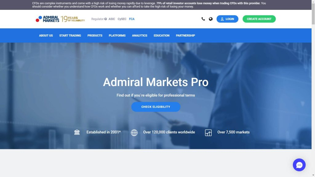 admiral markets professional account webpage