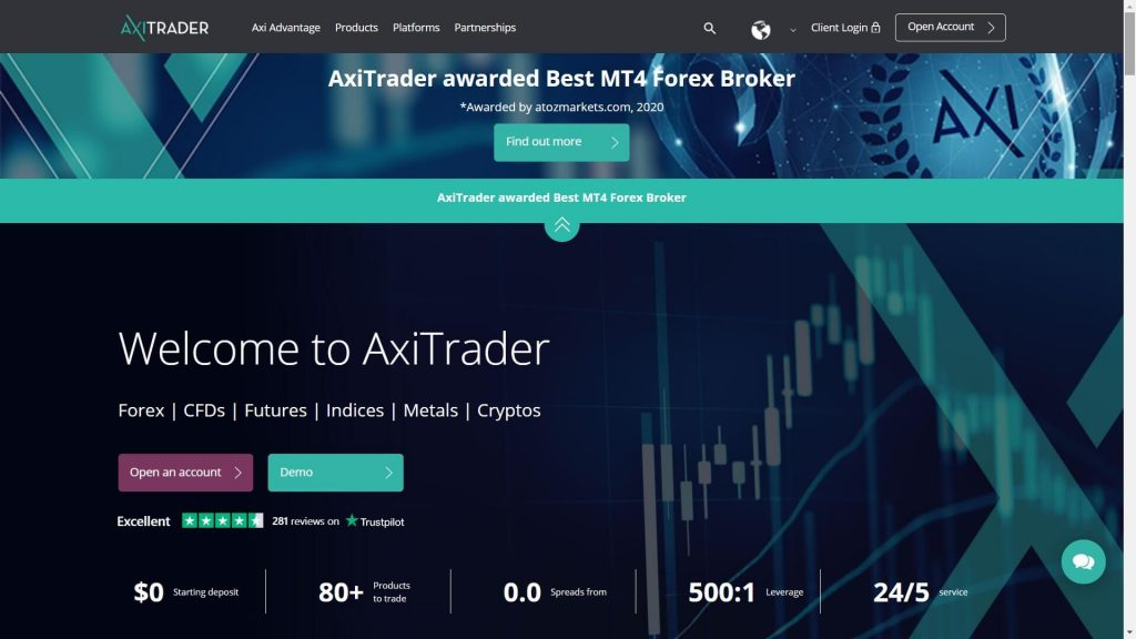 axitrader website homepage