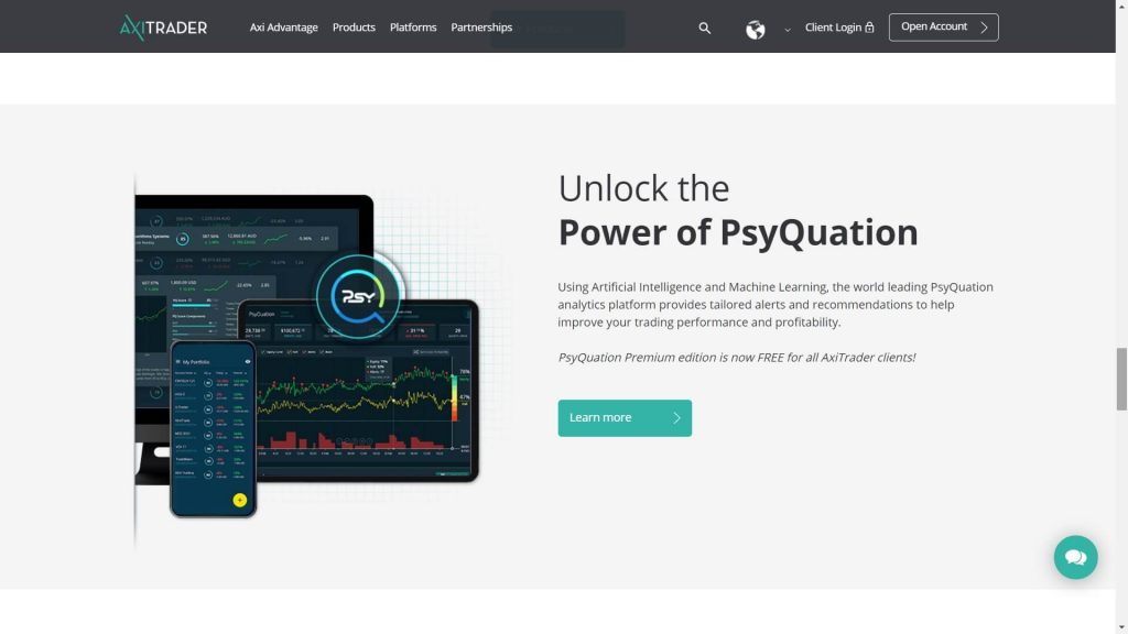axitrader psyquation trading platform features