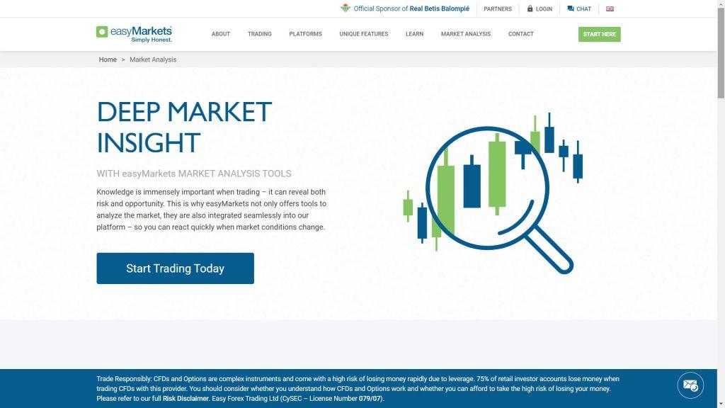 easymarkets market analysis features webpage