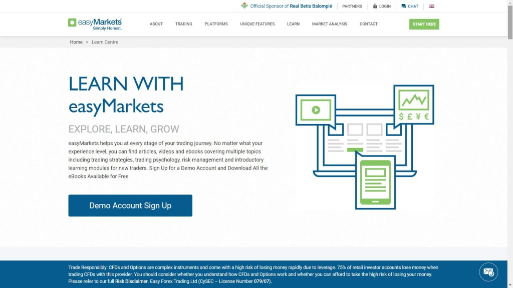 easymarkets education features webpage