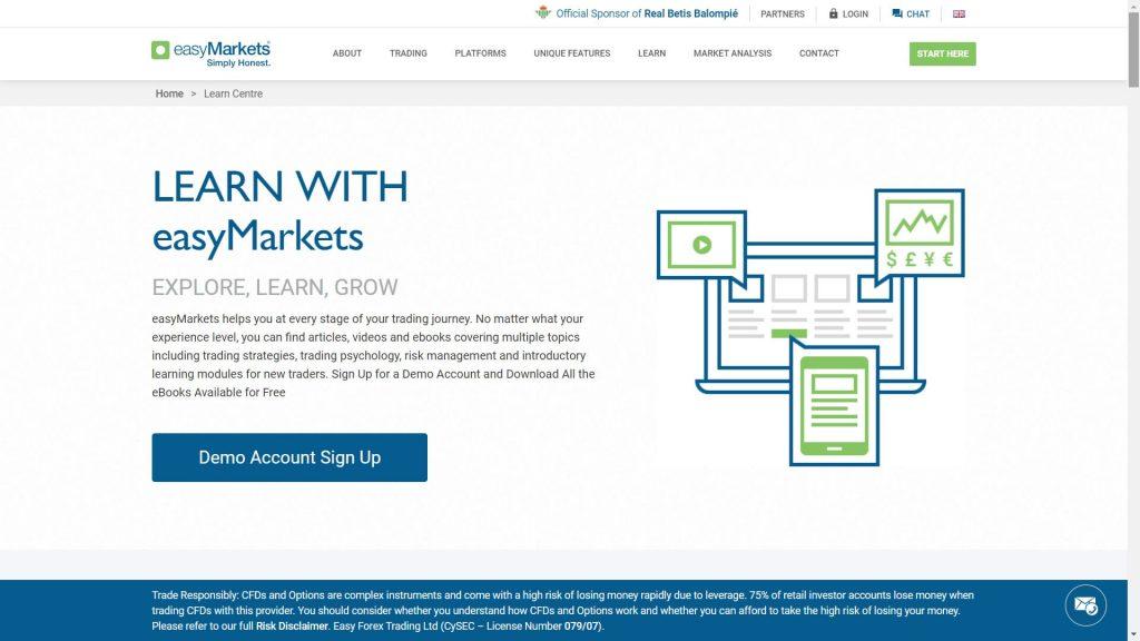 easymarkets education features webpage