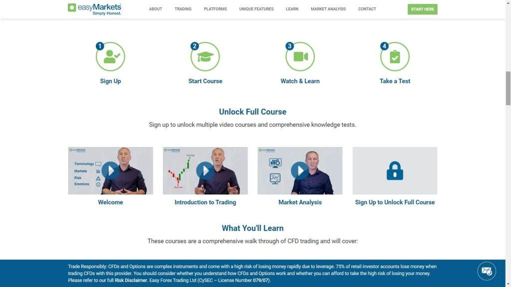 easymarkets forex training webpage