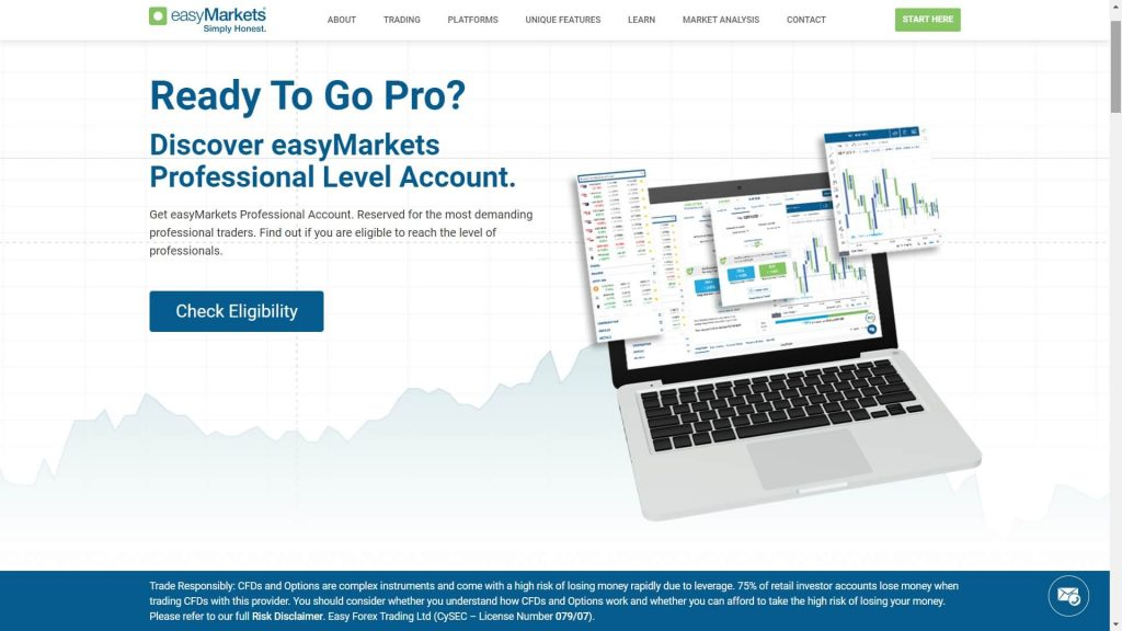 easymarkets pro account features webpage