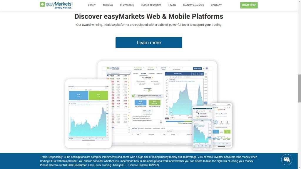 easymarkets proprietary platform features webpage