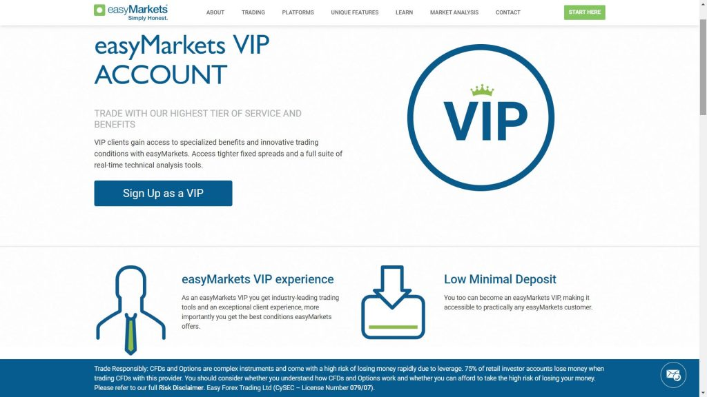 easymarkets vip account features webpage