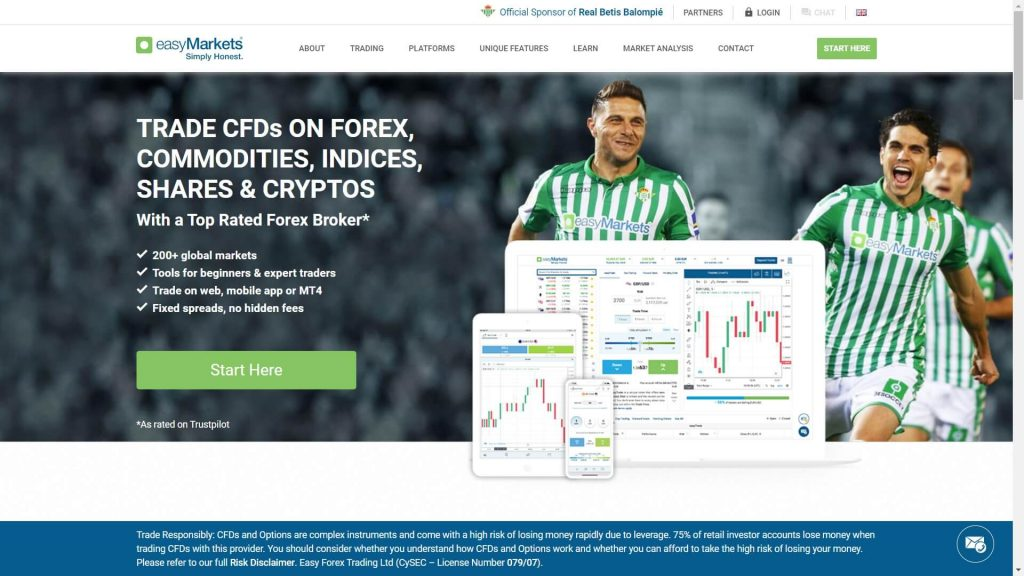 easymarkets website homepage