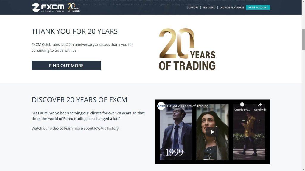 fxcm 20 years anniversary webpage