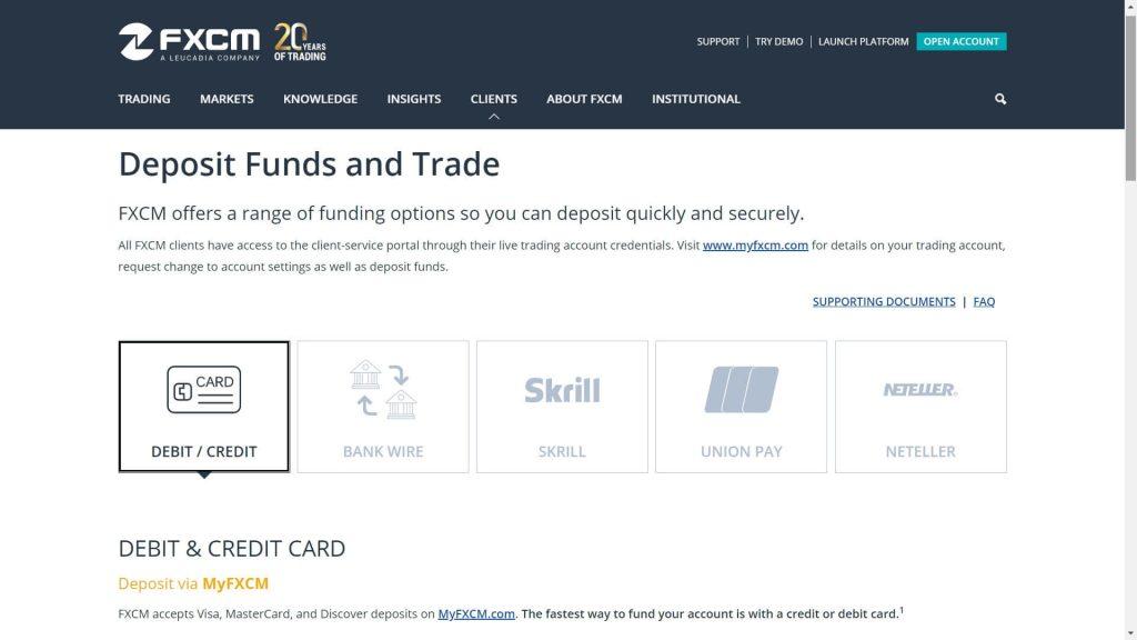 fxcm list of available deposit methods