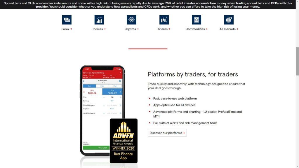 ig markets mobile trading platform webpage