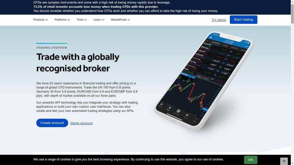 Oanda trading features webpage