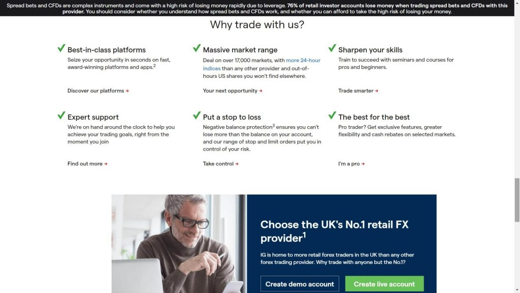why choose ig markets webpage