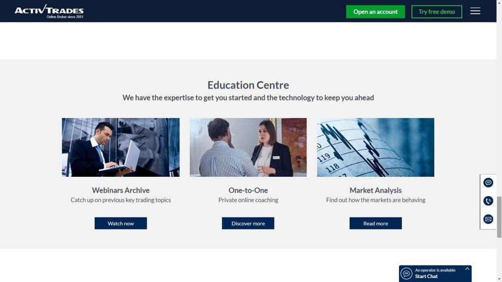 activtrades education webpage