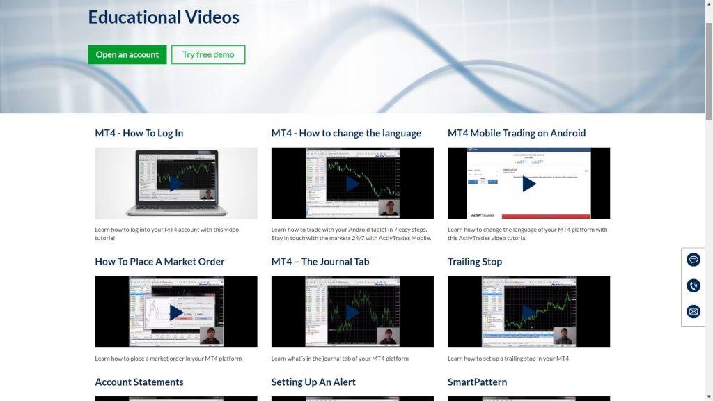 activtrades educational videos webpage