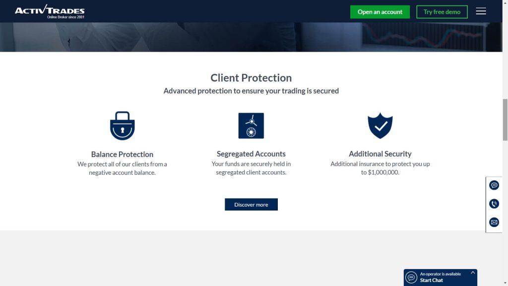 Activtrades fund safety webpage
