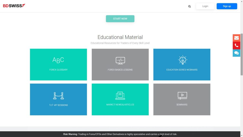 bdswiss educational material webpage