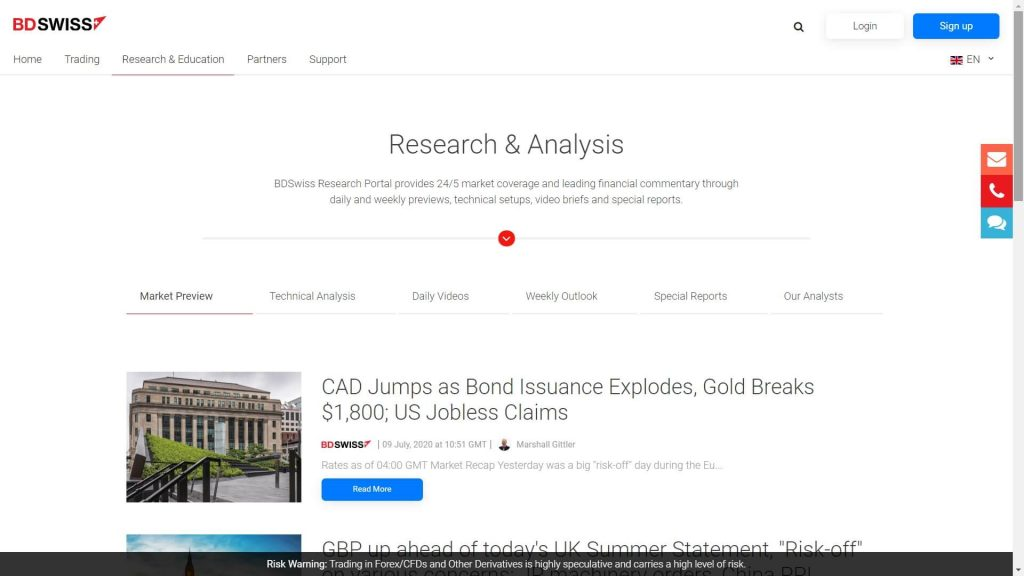 bdswiss market analysis webpage