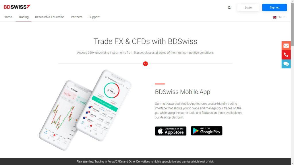 bdswiss mobile app webpage