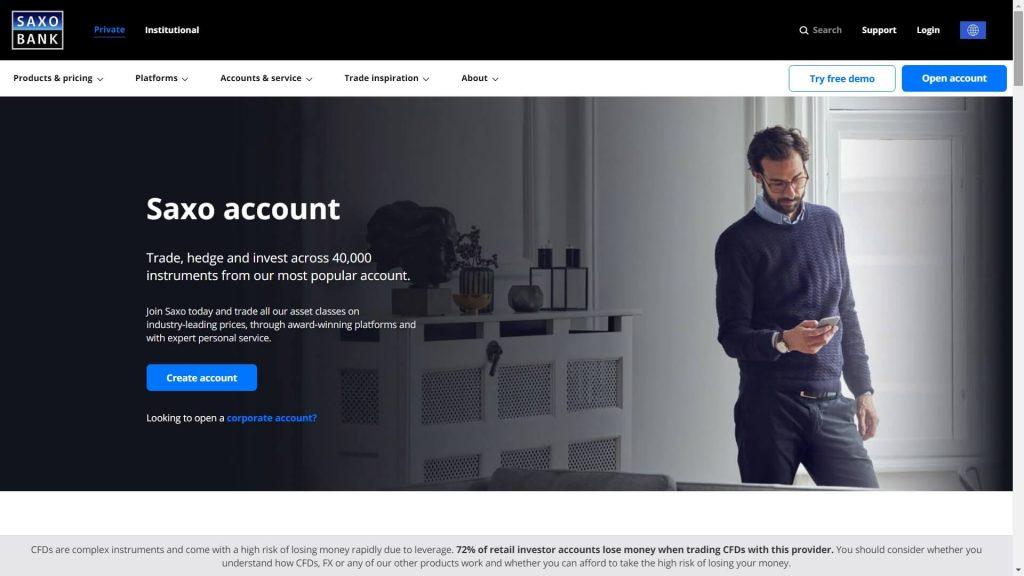 Saxo Bank standard account webpage