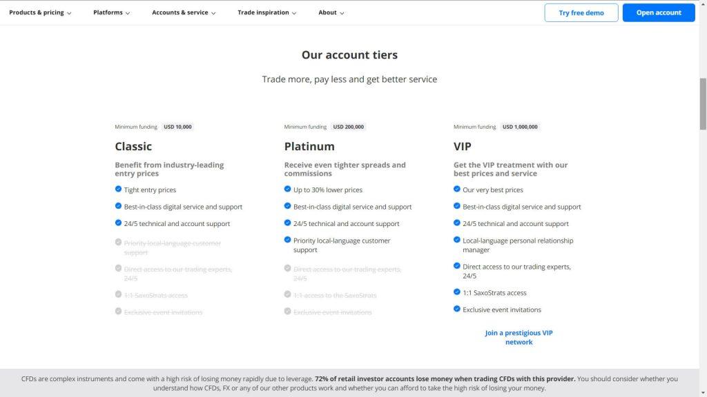 Saxo Bank account comparison webpage
