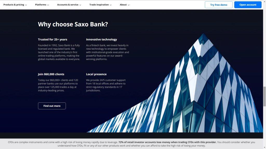 Why should you choose Saxo Bank webpage